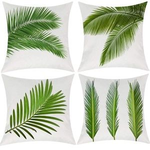 4 Palm Leaf Throw Pillow Covers Leaves Green White